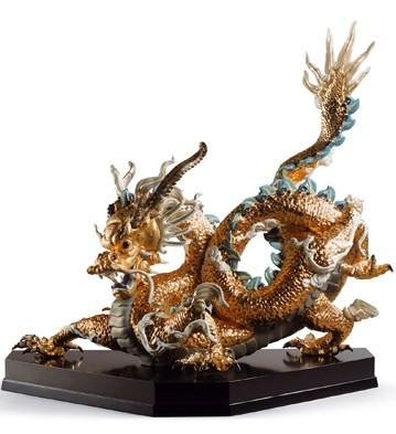 Great Dragon (golden) Lladro Figurine