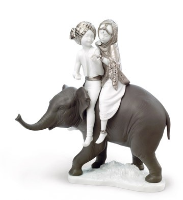 Hindu Children (re-deco) Lladro Figurine