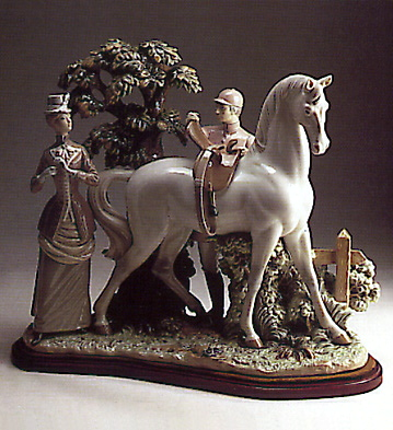 Horse-woman And Jockey-b- Lladro Figurine