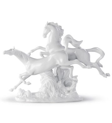 Horses Galloping (white) Lladro Figurine