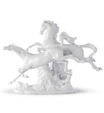 Horses Galloping (white) Lladro Figurine