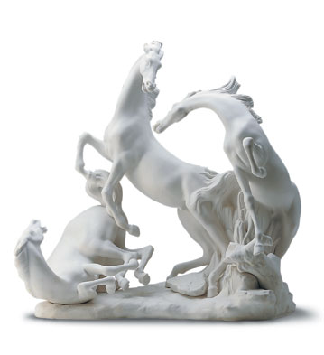 Horse's Group In White Lladro Figurine