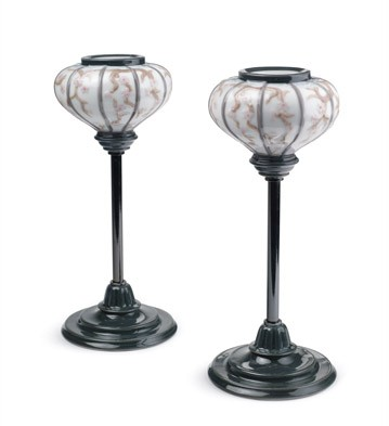 Japanese Lampstands (pair) Lladro Figurine