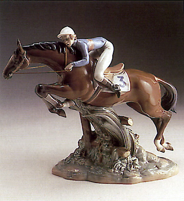 Jockey Mounted Lladro Figurine