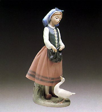 Josefa Feeding Duck Lladro Figurine
