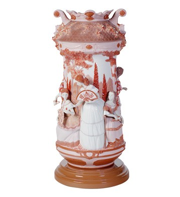 Ladies In The Garden Vase-red (re-deco) Lladro Figurine