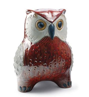 Large Owl (red) Lladro Figurine