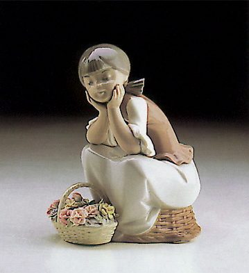 Leaning In Front Of Baske Lladro Figurine