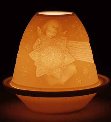 Lithophane Votive Light -angel With Star Lladro Figurine