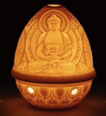 Lithophane Votive Light - Buddha Lladro Figurine