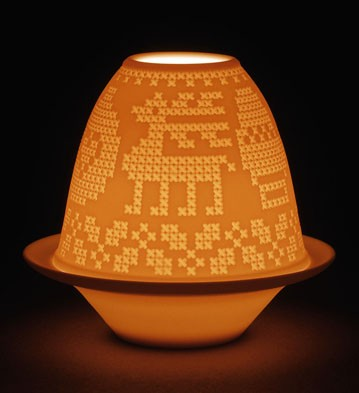 Lithophane Votive Light - Cross-stitch Lladro Figurine