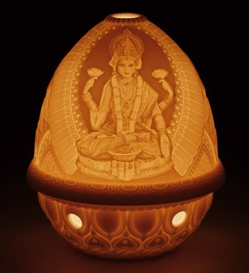 Lithophane Votive Light -goddess Lakshmi Lladro Figurine