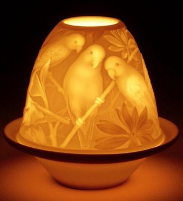 Lithophane Votive Light - Parrots Lladro Figurine