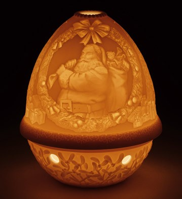 Lithophane Votive Light - Santa Claus Lladro Figurine