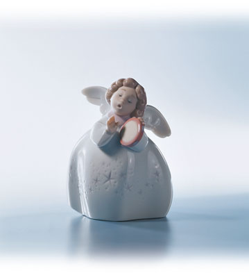 Little Angel With Tambourine Lladro Figurine