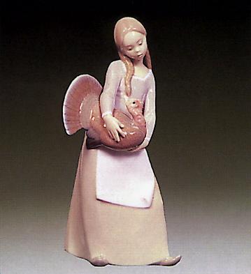 Little Girl W/ Turkey Lladro Figurine