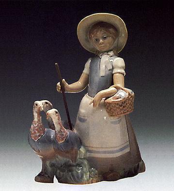 Little Girl With Turkey Lladro Figurine