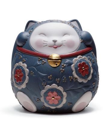 Maneki Neko Ii (blue) Lladro Figurine
