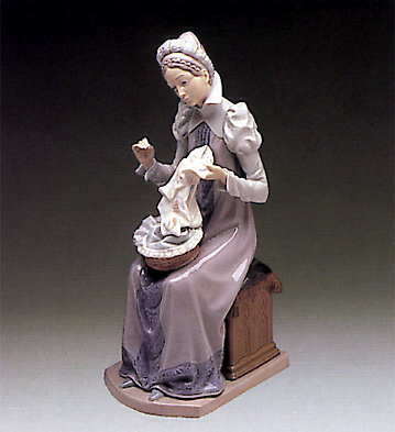 Medieval Lady Embroidering Lladro Figurine