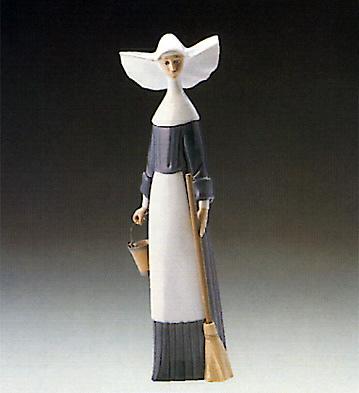 Morning Chores-blue Lladro Figurine