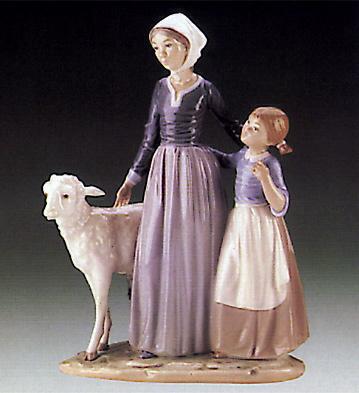 Mother W\child & Lamb Lladro Figurine