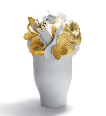 Naturo. -large Vase (golden) Lladro Figurine