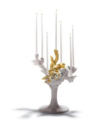 Naturo. -multi Candleholder(golden) Lladro Figurine