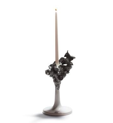 Naturo. -single Candleholder (grey) Lladro Figurine