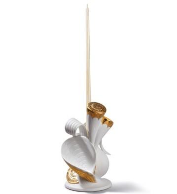 Naturo. -single Candleholder(white/gold) Lladro Figurine