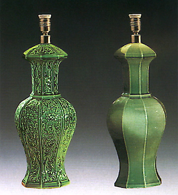 Octogonal Jar Green (lamp) Lladro Figurine