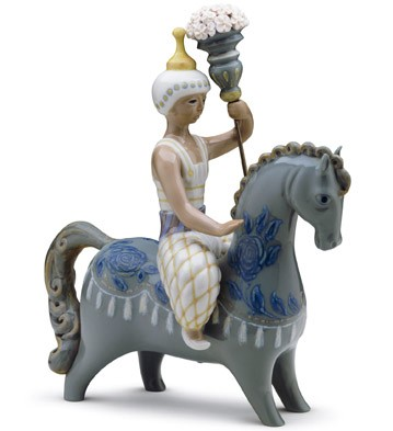 Oriental Man On Horse Lladro Figurine