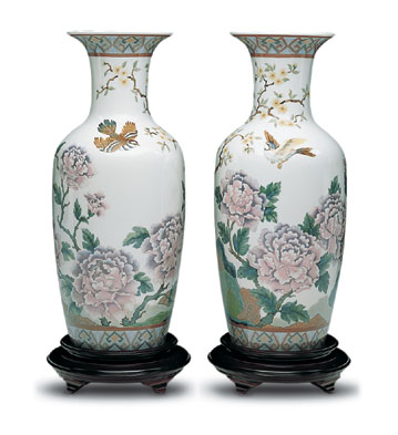 Oriental Peonies Vase 2 Lladro Figurine