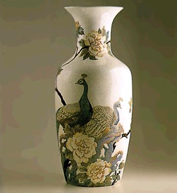 Peacocks And Flowers Vase Lladro Figurine