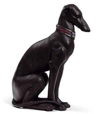 Pensive Greyhound (black) Lladro Figurine