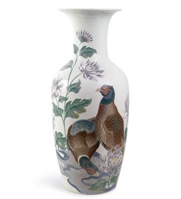 Pheasants & Mums Vase (l. Lladro Figurine