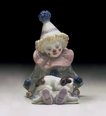 Pierrot With Puppy Lladro Figurine
