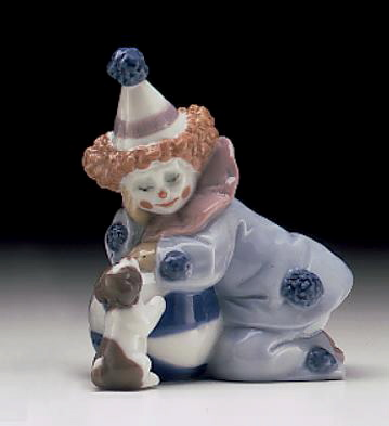 Pierrot With Puppy & Ball Lladro Figurine