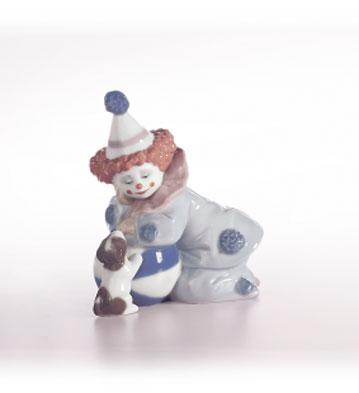 Pierrot With Puppy & Ball Lladro Figurine