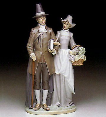 Pilgrim Couple Lladro Figurine