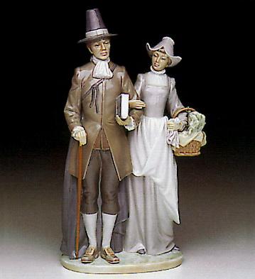 Pilgrim Couple Lladro Figurine