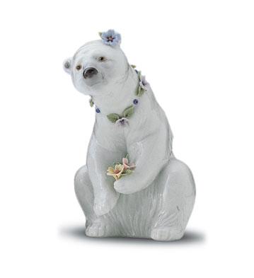 Polar Bear Resting W/flow Lladro Figurine