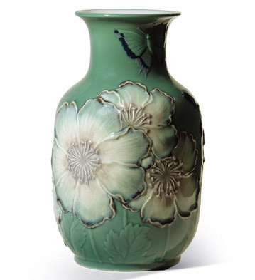 Poppy Flowers Tall Vase (green) Lladro Figurine