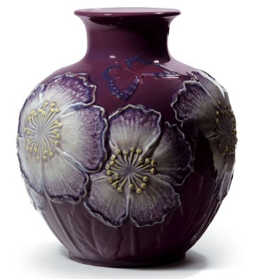 Poppy Flowers  Vase (purple) Lladro Figurine