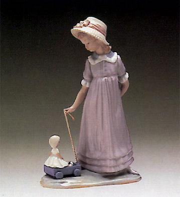 Pulling Dolls Carriage Lladro Figurine