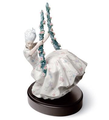 Rococo Lady On Swing Lladro Figurine