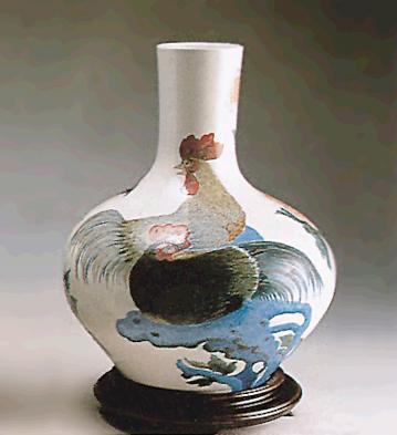 Rooster-floral Vase (l.e. Lladro Figurine