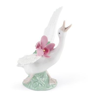 Running Duck With Pink Orchid Lladro Figurine