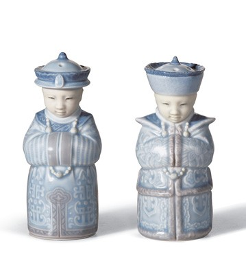Salt & Pepper Shakers (blue) Lladro Figurine