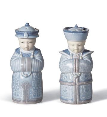 Salt & Pepper Shakers (blue) Lladro Figurine