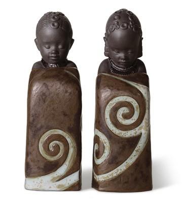 Salt & Pepper Shakers Pulse Of Africa Lladro Figurine
